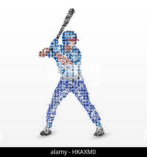 Baseball player with a bat. Vector illustration. - Stock Photo