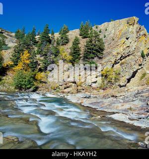 cascades on badger creek along the rocky mountain front near heart butte, montana - Stock Photo