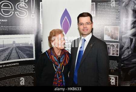 Armagh City, UK. 26th January, 2017. Secretary of State for Northern Ireland James Brokenshire MP meets Mindu Hornick, - Stock Photo
