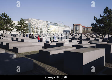 Berlin, Berlin, Germany. 27th Jan, 2017. The Memorial to the Murdered Jews of Europe also known as the Holocaust - Stock Photo