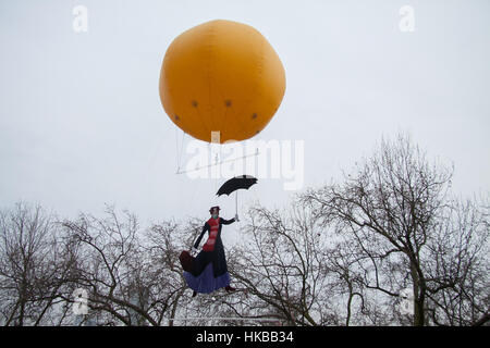 London, UK. 27th Jan, 2017. Mary Poppins flies in an air balloon at Somerset House as part of Tension in the air - Stock Photo