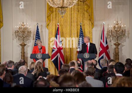 Washington, DC, January 27, 2017, President Donald J. Trump, welcomes  Prime Minister  of the United Kingdom, Theresa - Stock Photo