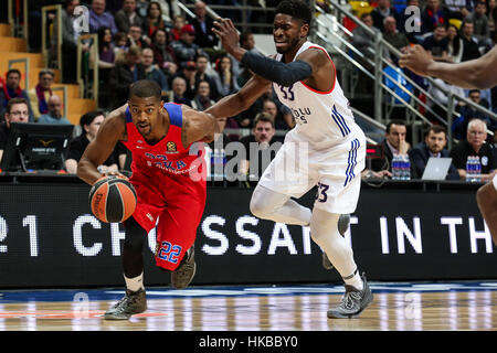 Moscow, Russia. 27th Jan, 2017. Cory Higgins (L) of CSKA Moscow from Russia vies with Brandon Paul of Anadolu Efes - Stock Photo