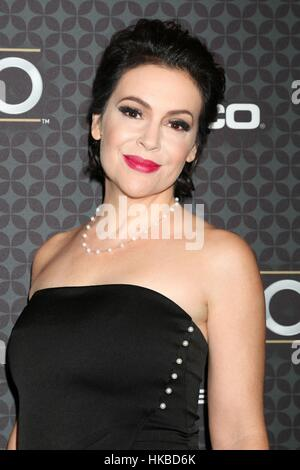 Los Angeles, CA, USA. 27th Jan, 2017. Alyssa Milano at arrivals for The NHL100 Presented by GEICO, Microsoft Theater, - Stock Photo