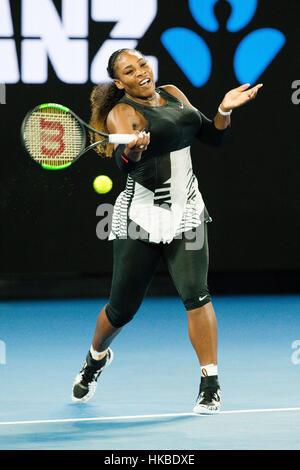 Melbourne, Australia. 28th Jan, 2017. Serena Williams of the USA wins her 23rd Grand Slam Title at the 2017 Australian - Stock Photo