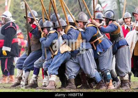 The Battle of Nantwich was fought during the First English Civil War, between the Parliamentarians and Royalists, - Stock Photo
