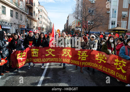 Madrid, Spain. 28th January, 2017. Banner of the Association of Adoptive Parents of Chinese Children and Promotion - Stock Photo