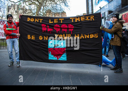 London,UK. 28 January, 2017. Protesters marched in central London and rallied at the Japanese Embassy to demonstrate - Stock Photo