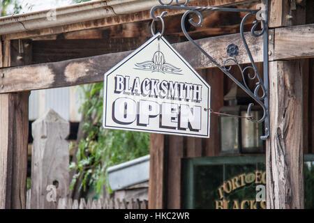 Blacksmith Open sign at shop in Port of Echuca, Victoria, Australia - Stock Photo