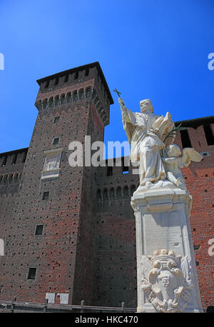 Italy, city of Milan, statue of Santa Giovanni Nepocedemo in the courtyard of Castello Sforzesco in front of the - Stock Photo