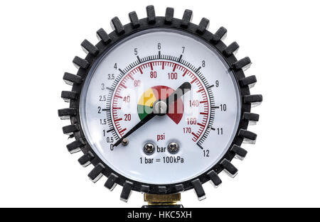 Industrial manometer pressure gauge isolated on a white background. Air compressor gun manometer with black needle - Stock Photo