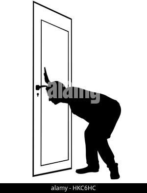 man spying through keyhole isolated - Stock Photo