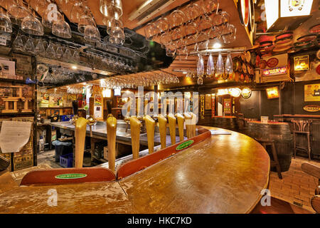 BRUSSELS, BELGIUM - OCTOBER 05, 2015:  Delirium Cafe known for its long beer list, standing at 2.004 different brands - Stock Photo