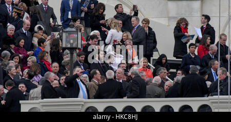 Washington, DC, USA 20th January, 2017 US Senators and family members greet and take pictures of each other on the West Front of the US Capitol prior to the swearing in of Donald Trump as the 45th President of the United States. Credit: Mark Reinstein