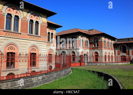 Italy, worker village Crespi d'Adda, part of the former textile factory, industrial monument, UNESCO - Stock Photo