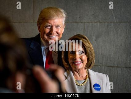 U.S. President Donald Trump and House Minority leader Nancy Pelosi smile for a photo during the 58th Presidential - Stock Photo