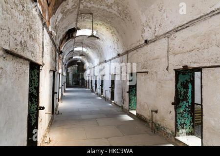 Old prison interior with brick walls - Stock Photo