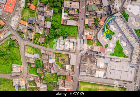 Top Urban View Of Lots Of Houses In Banos De Agua Santa, Tungurahua Province, South America - Stock Photo