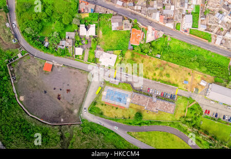 Aerial City View With Buildings And Parking Lots Of Banos De Agua Santa, Tungurahua Province, In The Daylight, South - Stock Photo