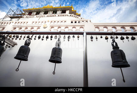 Pagoda with bells in temple Wat Saket also known as Golden Mount in Bangkok, Thailand - Stock Photo