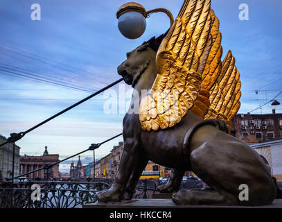 Griffins with golden wings on the Bank Bridge in Saint Petersburg, Russia - Stock Photo