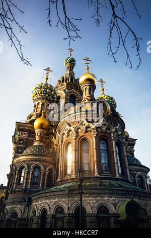 Dome and Crosses of Church Savior on Spilled Blood Saint Petersburg, Russia - Stock Photo
