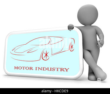 Motor Industry Phone Representing Industries Manufacture And Automobile 3d Rendering - Stock Photo