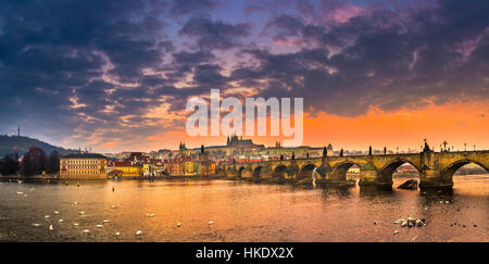 Moldova, Charles Bridge, St. Vitus Cathedral, Prague Castle, sunrise, Hradčany, historic centre, Prague, Bohemia - Stock Photo
