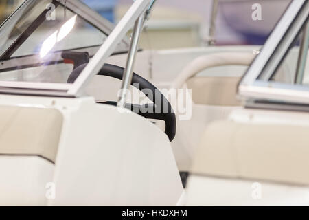 the part of the interior of a speedboat , note shallow depth of field - Stock Photo