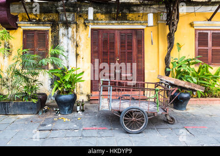 HOI AN, VIETNAM - FEBRUARY 7, 2016: A colorful facade in Hoi An old town. The city in central Vietnam was an important - Stock Photo