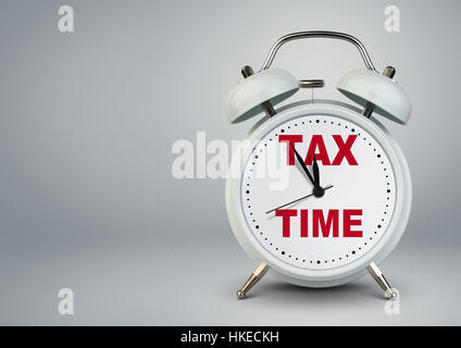 Alarm clock with copy space, tax time concept - Stock Photo