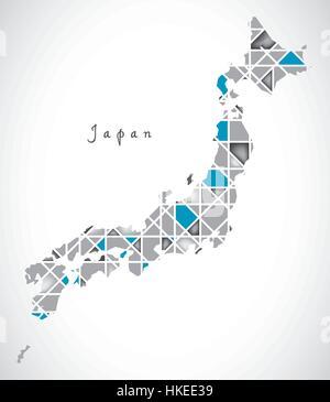 Japan Map crystal diamond style artwork illustration - Stock Photo