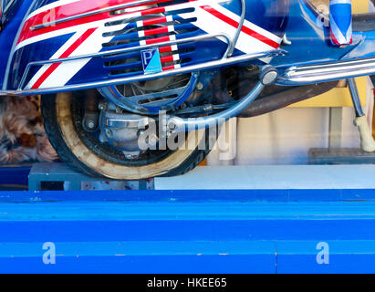 Broad Street, Oxford, United Kingdom, January 22, 2017: Union Jack flag painted Piapgio Vespa Motor Scooter with - Stock Photo
