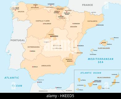 Spain autonomous communities map administrative divisions with