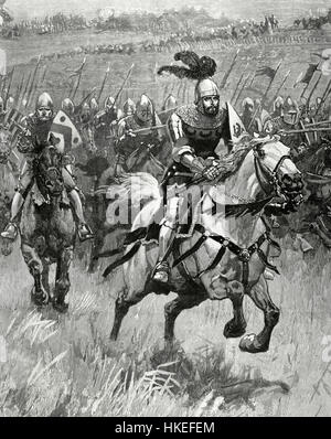 Henry IV of England (1367-1413). King of England. Engraving depicting the monarch during a battle. 19th century. - Stock Photo