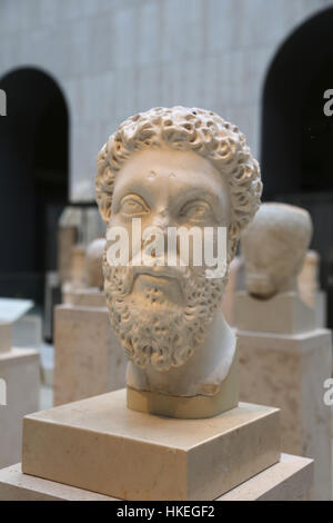 Marcus Aurelius (121-180) Roman Emperor from 161-180. Five Good Emperors. Dynasty Antonine. Marble, 170-181. Spain. - Stock Photo