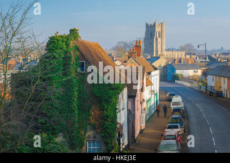 Sudbury Suffolk, a view of Ballingdon Road in the Suffolk town of Sudbury with the tower of All Saints Church on - Stock Photo