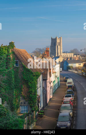 Sudbury Suffolk, a view of Ballingdon Road in Sudbury, Suffolk, with the tower of All Saints Church on the skyline, - Stock Photo