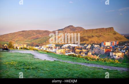 UK, Scotland, Lothian, Edinburgh, Calton Hill, View towards the Holyrood Park, Arthur´s Seat Volcano - Stock Photo