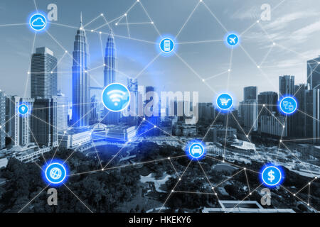 Smart city and wireless communication network, business district with office building, abstract image visual, internet - Stock Photo