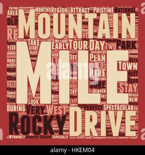 Classic Drives The Rocky Mountains Adventure Tour text background wordcloud concept - Stock Photo