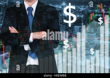 Trading stock market graph and bar on city at night. Business financial and trading concept - Stock Photo