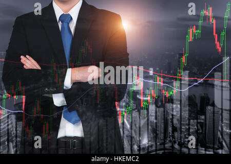 Candlestick chart patterns uptrend ,Stock Market on Shanghai cityscape at night background - Stock Photo