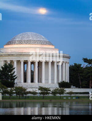 Moonrise over the Jefferson Memorial in Washington DC - Stock Photo
