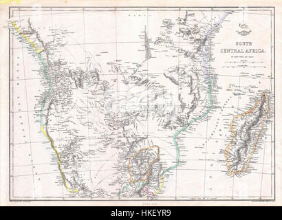 1868 Dispatch   Weller Map of South Central Africa ( Angola, Botswana, Tanzania, etc. )   Geographicus   CentralAfrica - Stock Photo