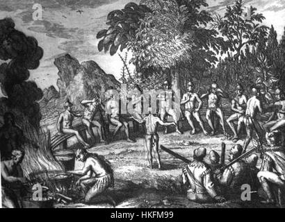 Rc11024 Timucua Indians at a feast drawing possibly by Le Moyne de Morgues - Stock Photo