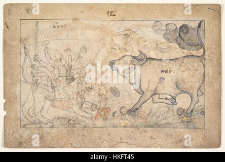 Durga Confronts the Buffalo Demon Mahisha - Stock Photo