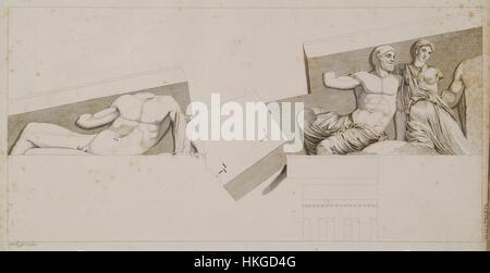 The Parthenon  Sculptures from the east pediment   Stuart James & Revett Nicholas   1787 - Stock Photo