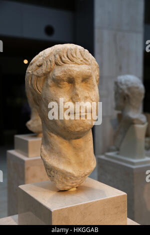 Trajan. Roman Emperor from 98 to 117 AD. Marble. Early 2nd century. Bust. Spain. - Stock Photo