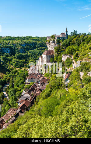The medieval city of Rocamadour (south-western France), in the Causses du Quercy Regional Nature Park. - Stock Photo